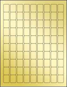 "Sheet of 0.75"" x 1"" Gold Foil Laser labels"