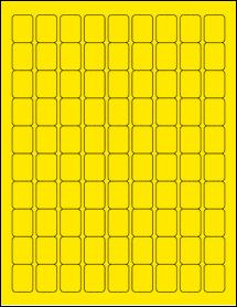 "Sheet of 0.75"" x 1"" True Yellow labels"