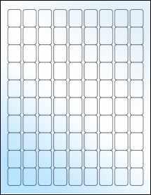 """Sheet of 0.75"""" x 1"""" White Gloss Inkjet labels"""