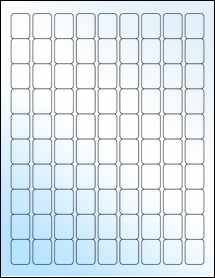 "Sheet of 0.75"" x 1"" White Gloss Laser labels"