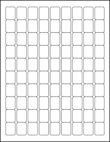 "Sheet of 0.75"" x 1"" Aggressive White Matte labels"