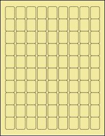 "Sheet of 0.75"" x 1"" Pastel Yellow labels"