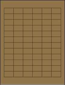 """Sheet of 1.25"""" x 0.75"""" Brown Kraft labels"""