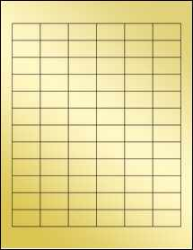"Sheet of 1.25"" x 0.75"" Gold Foil Inkjet labels"