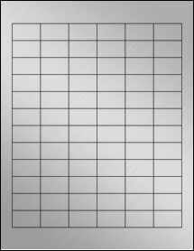 "Sheet of 1.25"" x 0.75"" Weatherproof Silver Polyester Laser labels"