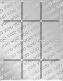 """Sheet of 2.5"""" x 2.5"""" Square Void Silver Polyester labels"""