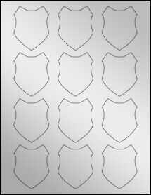 """Sheet of 2"""" x 2.5"""" Silver Foil Laser labels"""