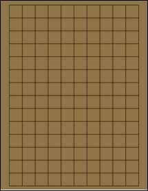 "Sheet of 0.75"" x 0.75"" Square Brown Kraft labels"