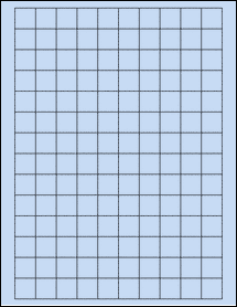 "Sheet of 0.75"" x 0.75"" Square Pastel Blue labels"