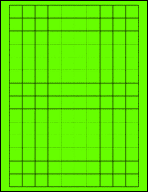 """Sheet of 0.75"""" x 0.75"""" Square Fluorescent Green labels"""