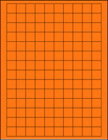 "Sheet of 0.75"" x 0.75"" Square Fluorescent Orange labels"