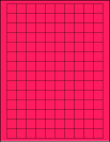 """Sheet of 0.75"""" x 0.75"""" Square Fluorescent Pink labels"""
