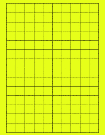 """Sheet of 0.75"""" x 0.75"""" Square Fluorescent Yellow labels"""