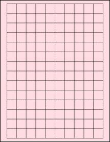 "Sheet of 0.75"" x 0.75"" Square Pastel Pink labels"