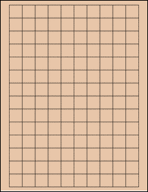 "Sheet of 0.75"" x 0.75"" Square Light Tan labels"