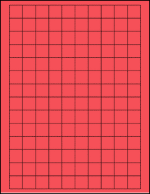 "Sheet of 0.75"" x 0.75"" Square True Red labels"