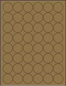 """Sheet of 1.25"""" Circle Brown Kraft labels"""