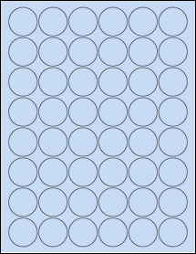 "Sheet of 1.25"" Circle Pastel Blue labels"