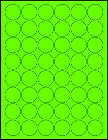 "Sheet of 1.25"" Circle Fluorescent Green labels"
