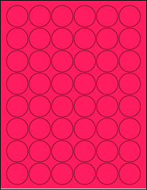 """Sheet of 1.25"""" Circle Fluorescent Pink labels"""
