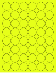 "Sheet of 1.25"" Circle Fluorescent Yellow labels"