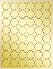 """Sheet of 1.25"""" Circle Gold Foil Laser labels"""