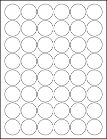 "Sheet of 1.25"" Circle Weatherproof Polyester Laser labels"