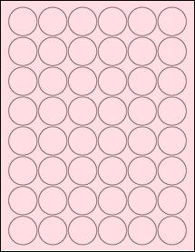 """Sheet of 1.25"""" Circle Pastel Pink labels"""
