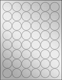 "Sheet of 1.25"" Circle Silver Foil Inkjet labels"