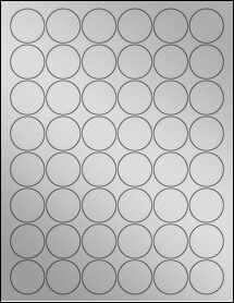 "Sheet of 1.25"" Circle Weatherproof Silver Polyester Laser labels"