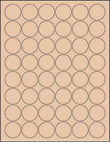 "Sheet of 1.25"" Circle Light Tan labels"