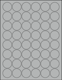 "Sheet of 1.25"" Circle True Gray labels"