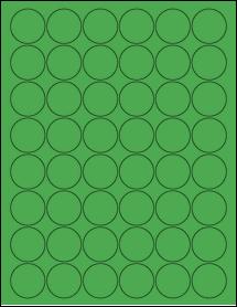 "Sheet of 1.25"" Circle True Green labels"