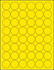 "Sheet of 1.25"" Circle True Yellow labels"