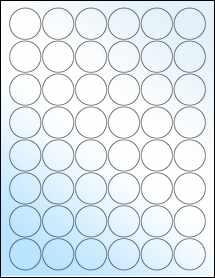 "Sheet of 1.25"" Circle White Gloss Inkjet labels"