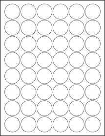 "Sheet of 1.25"" Circle Weatherproof Matte Inkjet labels"