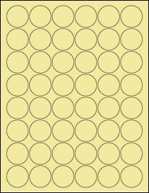 """Sheet of 1.25"""" Circle Pastel Yellow labels"""
