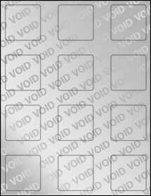 "Sheet of 2"" x 2"" Square Void Silver Polyester labels"
