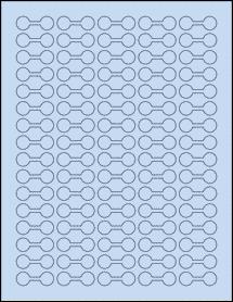 "Sheet of 1.375"" x 0.5"" Pastel Blue labels"