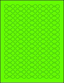 """Sheet of 1.375"""" x 0.5"""" Fluorescent Green labels"""