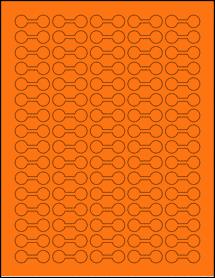 "Sheet of 1.375"" x 0.5"" Fluorescent Orange labels"