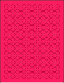 "Sheet of 1.375"" x 0.5"" Fluorescent Pink labels"