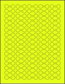 "Sheet of 1.375"" x 0.5"" Fluorescent Yellow labels"