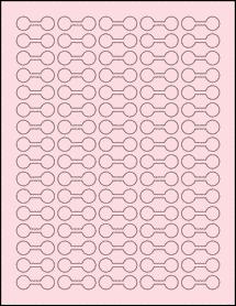 "Sheet of 1.375"" x 0.5"" Pastel Pink labels"