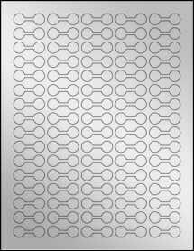 """Sheet of 1.375"""" x .5"""" Silver Foil Laser labels"""