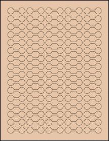 "Sheet of 1.375"" x 0.5"" Light Tan labels"