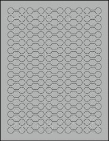 "Sheet of 1.375"" x 0.5"" True Gray labels"