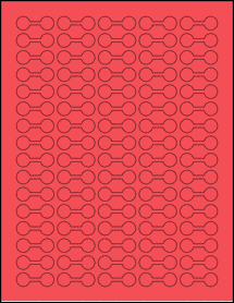 """Sheet of 1.375"""" x 0.5"""" True Red labels"""