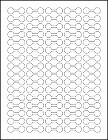 "Sheet of 1.375"" x 0.5"" Removable White Matte labels"