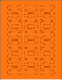 "Sheet of 2"" x 0.625"" Fluorescent Orange labels"